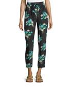 Tulip-Print Silk Crepe Pants