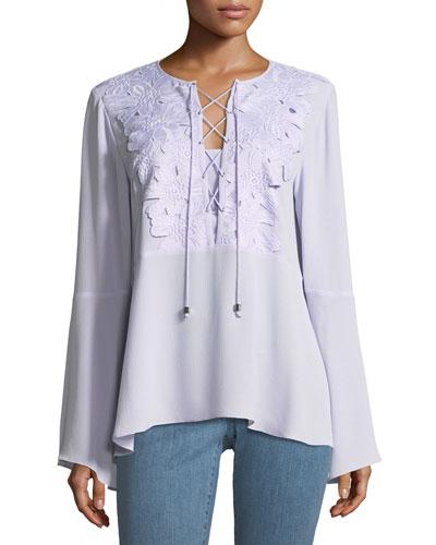 Lace-Bib Top with Kimono Sleeves