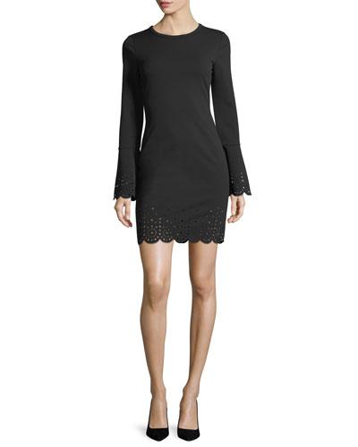 Laser-Cut Trim Bell-Sleeve Dress