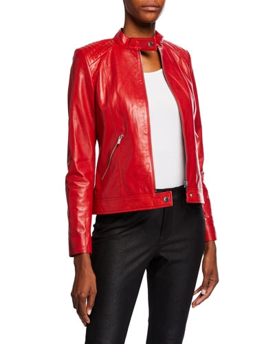 Leather Moto Jacket w/ Quilted Shoulders