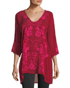 Sheradonian Floral-Applique Georgette Tunic, Plus Size