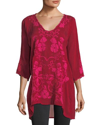 Sheradonian Floral-Applique Georgette Tunic, Plus Size