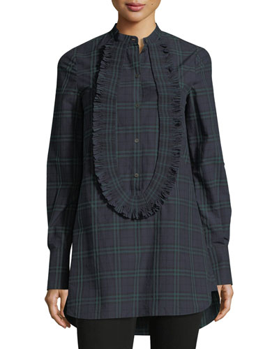 Tartan Plaid Ruffled Tunic