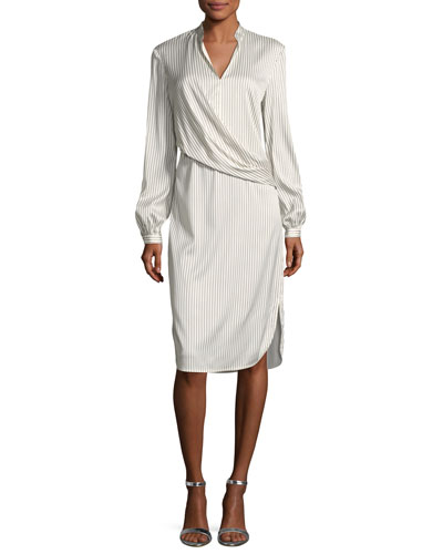 Vertical Striped Draped Dress