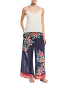 Rosey Georgette Wide-Leg Pants
