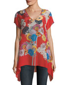 Dolce Floral-Print Drapey Top
