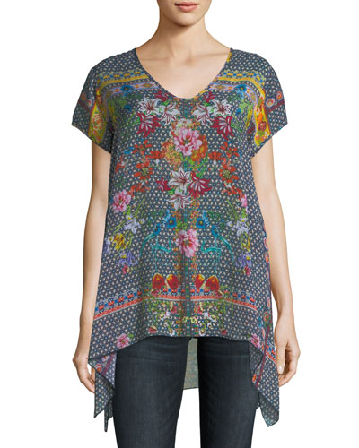 Dolce Drapey Printed Top, Plus Size