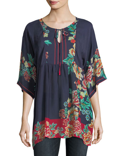 Charming Floral-Print Pintuck Top