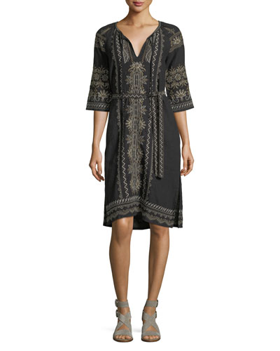 Sean Peasant Embroidered Linen Dress, Black