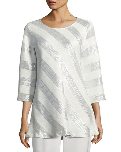 Caroline Rose  METALLIC STRIPED JACQUARD TUNIC