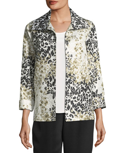 Double Take Jacquard A-line Jacket