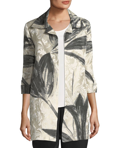 Natural Light Jacquard Jacket, Plus Size