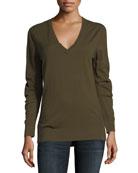 Cashmere V-Neck Sweater, Khaki Green
