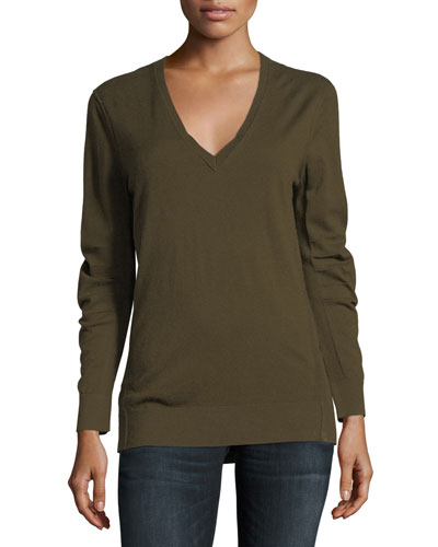 Cashmere V-Neck Sweater, Khaki Green
