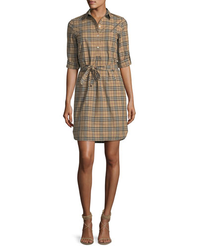 Check-Print Belted Tunic Dress