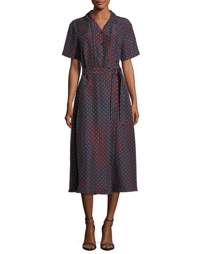 Dot-Print Pintucked Silk Shirtdress