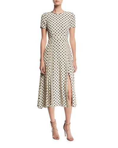Short-Sleeve Dotted Long Dress
