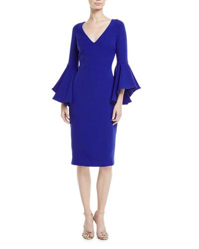 Flair-Sleeve V-Neck Sheath Dress