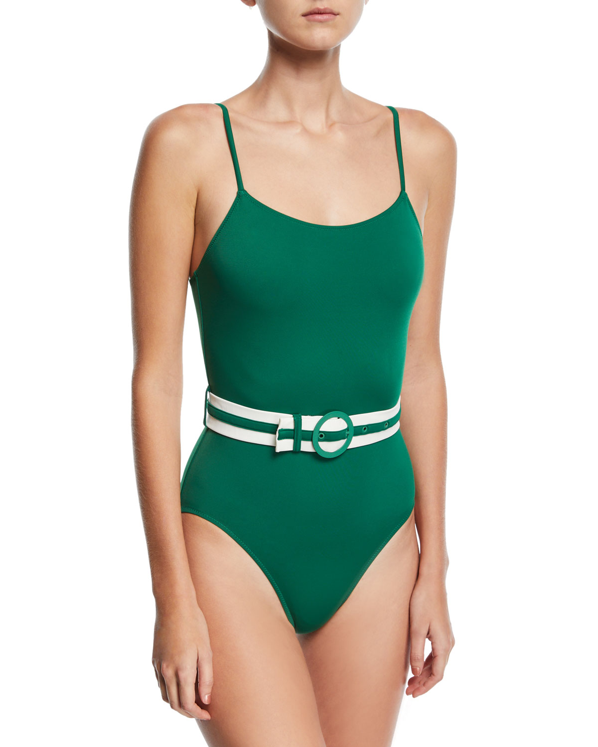 The Nina Belted Solid One-Piece Swimsuit Green