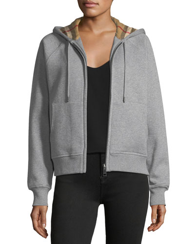 Check-Lined Hooded Jacket, Gray