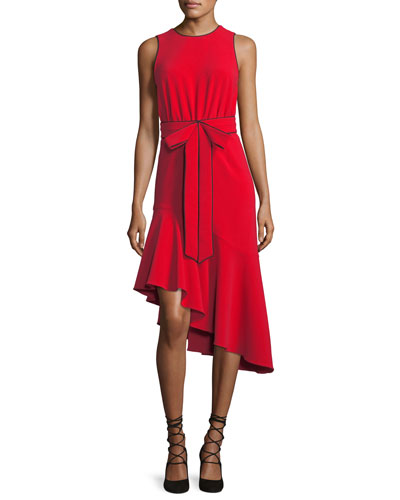 Merle Asymmetric Sleeveless Bow Cocktail Dress