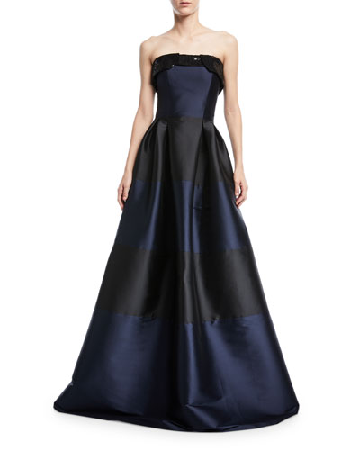 Corrine Striped Sequin Strapless Fold-Over Gown