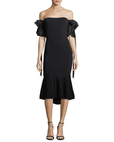 Meksin Flared Ruffle Short-Sleeve Knit Cocktail Dress