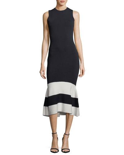 Mila Sleeveless Striped Cocktail Sheath Dress