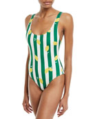 The Anne-Marie Striped Lemons One-Piece Swimsuit