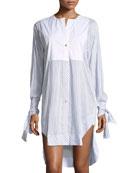 Mascia Button-Front Striped Poplin Shirtdress with Crochet Heart