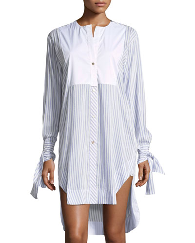 Mascia Button-Front Striped Poplin Shirtdress with Crochet Heart