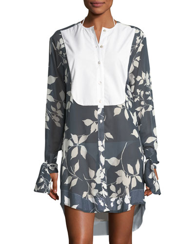 LILA.EUGENIE FLORAL-PRINT MOTHER OF PEARL BUTTON-FRONT SEMISHEER COVERUP TUNIC