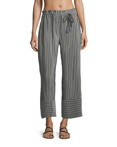 Jesi Striped Wide-Leg Ankle Cotton-Silk Coverup Pants