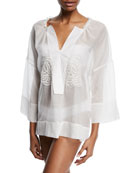 Jasmine V-Neck Voile Coverup Blouse with Rose Lace