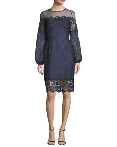 Textured Lace Long-Sleeve Cocktail Dress