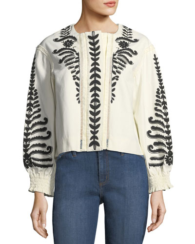 Filipa Short Embroidered Canvas Jacket