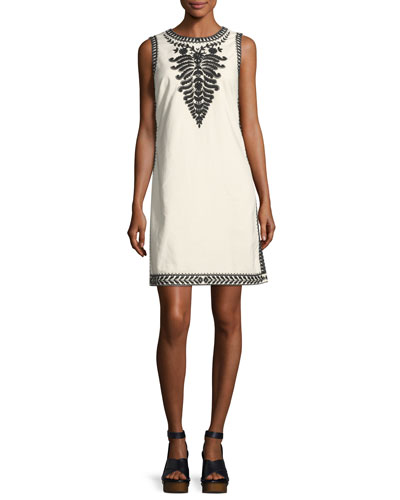 Camille Contrast-Embroidered Shift Dress