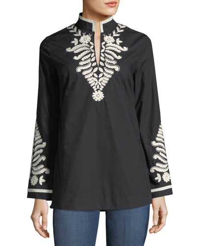 Embroidered-Trim Tunic
