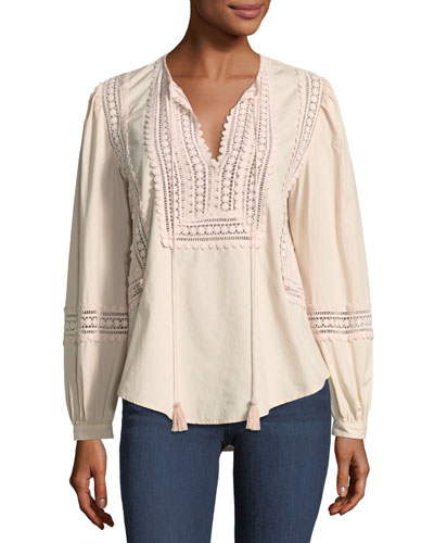 Marissa Embroidered Poplin Top