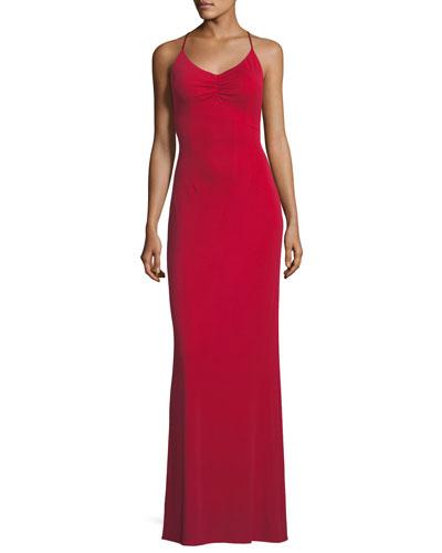 Donna Crisscross Backless Long Gown