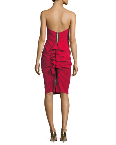 Cameron Strapless Back-Ruffle Cocktail Dress