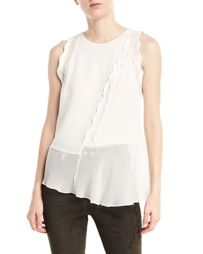 Sleeveless Silk Ruffled Tank