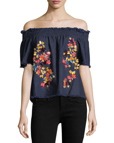 Carmen Off-the-Shoulder Denim Top