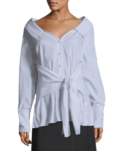 Jamie Off-the-Shoulder Button-Front Tie-Front Oxford Shirt