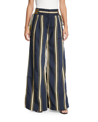 Dawn High-Waist Side-Tie Wide-Leg Striped Pants