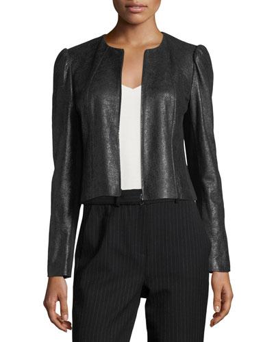 Crackle Zip-Front Pebble Leather Jacket