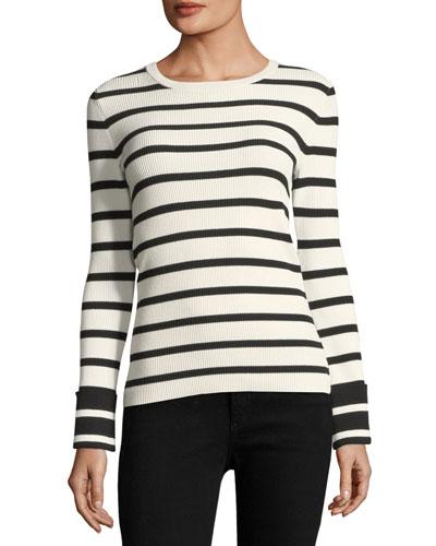 Striped Crewneck Long-Sleeve Top