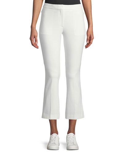 Stretch-Cotton Cropped Kick-Flare Pants