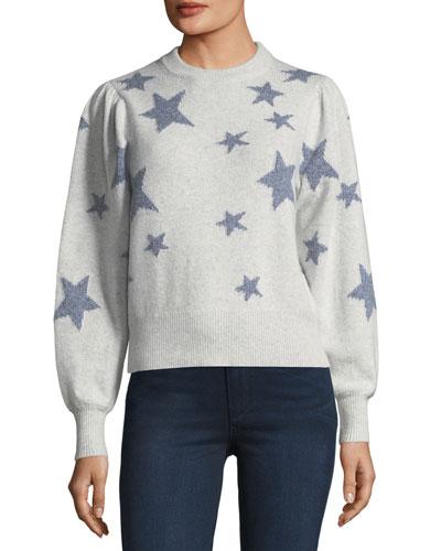 Star-Intarsia Crewneck Pullover Sweater