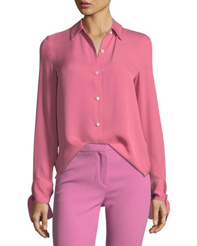Button-Front Silk Tie-Cuff Shirt